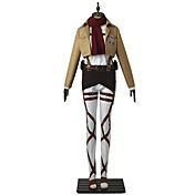 Inspirado por Attack on Titan Mikasa Ackermann Animé Disfraces de cosplay Trajes Cosplay Un Color Manga Larga Top Pantalones Delantal