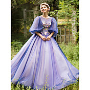 Salón Princesa Escote de ilusión Hasta el Suelo Tul Evento Formal Vestido con Cuentas Apliques Flor(es) Ceñido por Huaxirenjiao