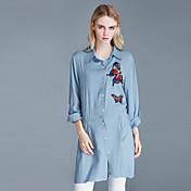 レディース カジュアル/普段着 シャツ,ストリートファッション シャツカラー プリント コットン 長袖
