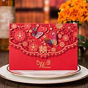 トップ折り 結婚式の招待状-招待状カード フォーマル ビンテージ フローラル 蝶デザイン 花のスタイル カード用紙 蝶デザイン リボン