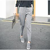 Mujer Casual Tiro Medio Microelástico Pantalones Harén Chinos Pantalones, Un Color Primavera Verano