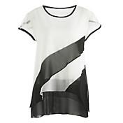 レディース お出かけ 秋 Tシャツ,ストリートファッション ラウンドネック カラーブロック ポリエステル 半袖