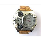 JUBAOLI Hombre Reloj Deportivo Reloj Militar Reloj creativo único Cuarzo Calendario Dos Husos Horarios Piel Banda Cool Negro CaquiNegro