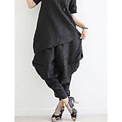Mujer Casual Tiro Medio Rígido Corte Ancho Perneras anchas Chinos Pantalones,Un Color Verano