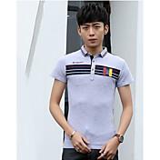 メンズ カジュアル/普段着 Tシャツ,シンプル スクエアネック カラーブロック コットン 半袖