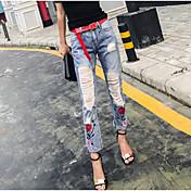 Mujer Tiro Alto Corte Recto Vaqueros Pantalones - Un Color Estampado