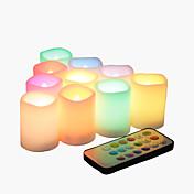 リモコンとタイマー付きの10色の多彩な炎のない紋章の蝋燭