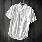 Masculino Camisa Social Casual Simples Verão,Sólido Linho Colarinho de Camisa Manga Curta Fina