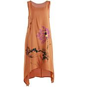 Mujer Línea A Vestido Casual/Diario Simple,Estampado Escote Redondo Midi Sin Mangas Lino Primavera Verano Tiro Medio Rígido Medio