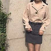 レディース カジュアル/普段着 シャツ,シンプル Vネック ソリッド その他 長袖