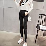 Mujer Sencillo Tiro Alto Alta elasticidad Vaqueros Pantalones,Delgado Un Color