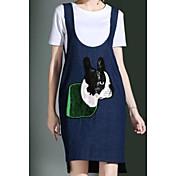 Mujer Sencillo Casual/Diario Verano T-Shirt Vestidos Trajes,Escote Redondo Un Color Manga Corta Microelástico
