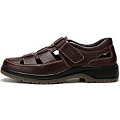 Hombre Zapatos Cuero Verano Sandalias Paseo Cinta Adhesiva Para Negro Marrón