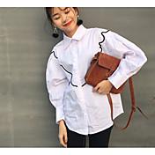 レディース カジュアル/普段着 春 シャツ,シンプル レギュラーカラー ストライプ コットン 長袖 ミディアム
