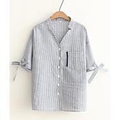Mujer Simple Casual/Diario Primavera Verano Camisa,Escote en Pico A Rayas Manga Corta Algodón Fino