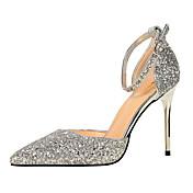 Mujer Zapatos Lentejuelas Primavera Otoño Confort Tacones Tacón Stiletto Dedo Puntiagudo Hebilla para Vestido Plata Arco Iris Rojo Azul