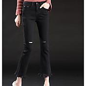 Mujer Sencillo Tiro Medio Alta elasticidad Chinos Pantalones,Ajustado a la Bota Un Color