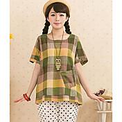 Mujer Simple Casual/Diario Primavera Verano Camiseta,Escote Redondo Estampado Manga Corta Lino Fino