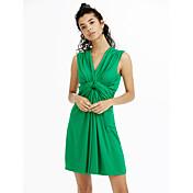 婦人向け プラスサイズ / セクシー / カジュアル / キュート ボディコン ドレス,ソリッド 膝上 ディープVネック コットン