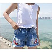 Mujer Sencillo Tiro Medio Microelástico Shorts Pantalones,Perneras anchas Estampado