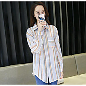 Mujer Simple Casual/Diario Camisa,Escote Cuadrado A Rayas Manga Larga Otro