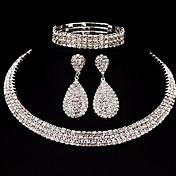 女性用 ジュエリーセット ラインストーン クラシック ベーシック DIY 結婚式 パーティー 誕生日 婚約 クリスマスギフト 合金 方形 1×ネックレス 1×イヤリング(ペア) 1×ブレスレット