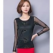 Mujer Vintage Noche Camiseta,Escote Redondo Estampado Manga Larga Otro