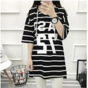 レディース カジュアル/普段着 Tシャツ,ストリートファッション ラウンドネック ストライプ レタード コットン 半袖
