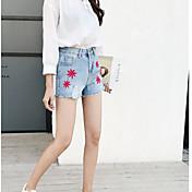 Mujer Sencillo Sexy Tiro Bajo Microelástico Shorts Chinos Pantalones,Delgado Holgado Un Color Color puro Vaqueros