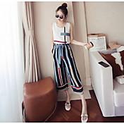 レディース カジュアル デート 夏 Tシャツ(21) パンツ スーツ,カジュアル ファッション ラウンドネック 幾何学模様 カラーブロック ノースリーブ