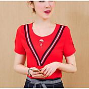 レディース カジュアル/普段着 夏 Tシャツ,シンプル ラウンドネック ストライプ コットン 半袖 薄手