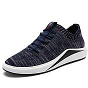Hombre Zapatos Tejido Primavera Verano Confort Suelas con luz Zapatillas de deporte Para Deportivo Casual Negro Gris Azul
