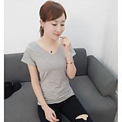 レディース カジュアル/普段着 夏 Tシャツ,シンプル ラウンドネック ソリッド コットン 半袖 ミディアム