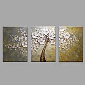 手描きの 花柄/植物の 横長,Modern 田園 3枚 キャンバス ハング塗装油絵 For ホームデコレーション