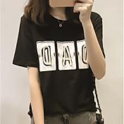 Mujer Bonito Playa Camiseta,Escote Redondo Letra Manga Corta Algodón