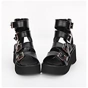 Zapatos Lolita Clásica y Tradicional Punk Lolita Hecho a Mano Plataforma Color Sólido Lolita 7 CM Negro ParaCuero Sintético/Cuero de