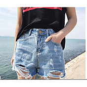 Mujer Sencillo Tiro Medio Microelástico Corte Ancho Pantalones,Corte Ancho Un Color Tul Vaqueros