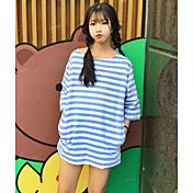レディース カジュアル/普段着 春 夏 Tシャツ,シンプル キュート ラウンドネック ストライプ コットン 半袖 薄手