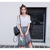 Mujer Sencillo Chic de Calle Noche Asimétrico Faldas,Corte Bodycon Otoño Estampado Bloque de Color