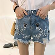Mujer Chic de Calle Tiro Medio Microelástico Shorts Vaqueros Pantalones,Perneras anchas Estampado