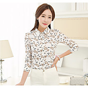 レディース カジュアル/普段着 シャツ,シンプル シャツカラー プリント コットン 長袖