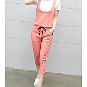 Mujer Deportes Verano Camisas Pantalón Trajes,Escote Redondo Un Color Manga Corta