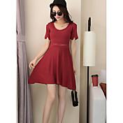 Mujer Línea A Vestido NocheUn Color Escote Redondo Sobre la rodilla Manga Corta Otro Verano Tiro Medio Microelástico Fino