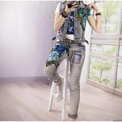 Mujer Simple Casual/Diario Primavera T-Shirt Pantalón Trajes,Escote Redondo Floral Manga Corta Inelástica