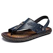 メンズ 靴 PUレザー 春 夏 コンフォートシューズ サンダル ビーズ 用途 カジュアル Brown ブルー カーキ色