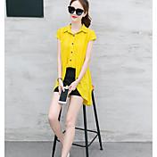 Mujer Casual Diario Casual Verano T-Shirt Pantalón Trajes,Escote Chino Un Color Manga Corta Inelástica