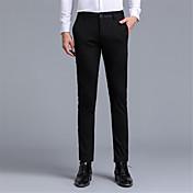 メンズ シンプル ミッドライズ スリム strenchy スーツ チノパン パンツ 純色 ソリッド 文字&番号