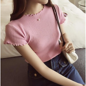 Mujer Regular Pullover Casual/Diario Bonito,Un Color Escote Redondo Manga Corta Algodón Verano 8.0 Fino Microelástico
