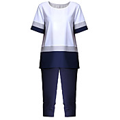レディース お出かけ 夏 Tシャツ(21) パンツ スーツ,ストリートファッション ラウンドネック ソリッド ストライプ シフォン 半袖 マイクロエラスティック
