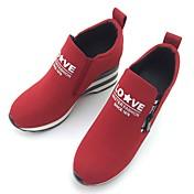 女性用 靴 繊維 春 秋 コンフォートシューズ スニーカー ウォーキング フラットヒール ラウンドトウ ジッパー のために カジュアル アウトドア ブラック レッド